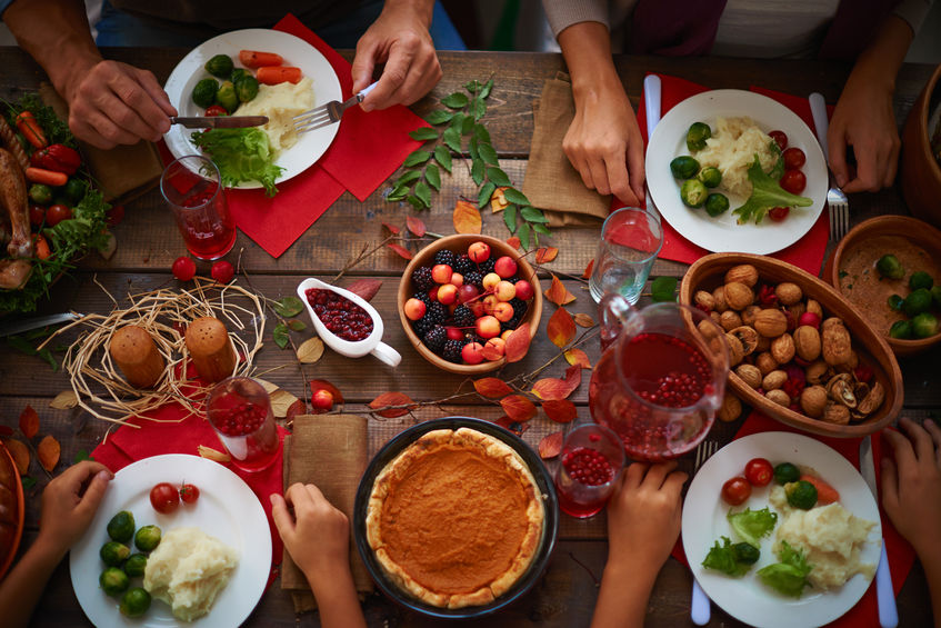 Thanksgiving Dinner with Roasted Turkey, Mashed Potatoes, Brussel Sprouts, Pumpkin Pie